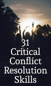 conflict resolution skills - silhouettes of people hands in air making peace and other signs