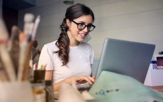 time management skills - woman on computer