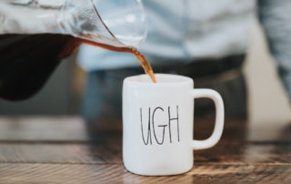 """stay motivated goal - man pouring coffee into coffee cup that says """"ugh"""""""