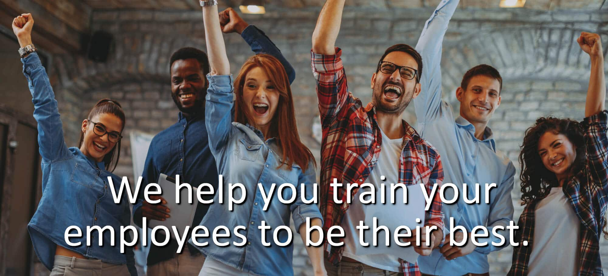 we help you train your employees to be their best - group of employees happy and excited